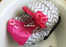 Infant Car seat Canopy Cover 3 Piece Whole Caboodle Baby Car Seat Cover Kit in Cotton